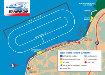 Diamond Cup Race on Lake Coeur d'Alene - Course Map